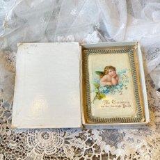 画像2: 勿忘草と天使の柄 洗礼セルロイドカード  BOX付き (2)