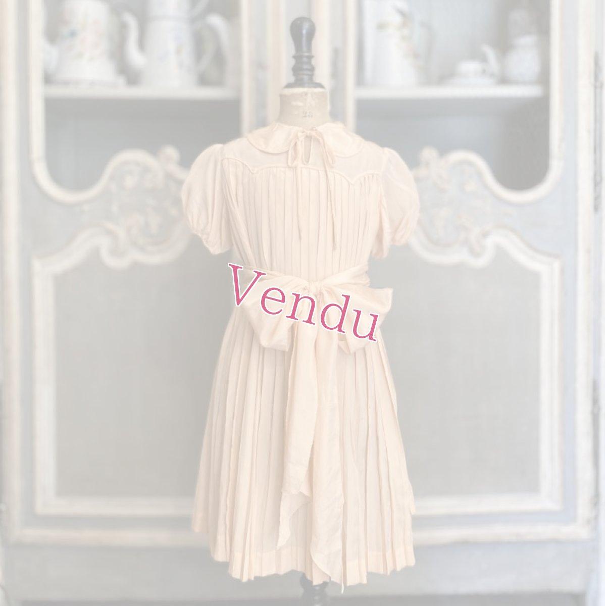 画像1: サーモンピンクプリーツキッズドレス (1)