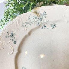画像2: 1880年代 Longchamp cleta グリーンの花柄大きめプレート (2)