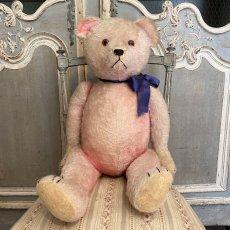 画像2: ピンク色の毛にブルーのリボンをした テディベア (2)