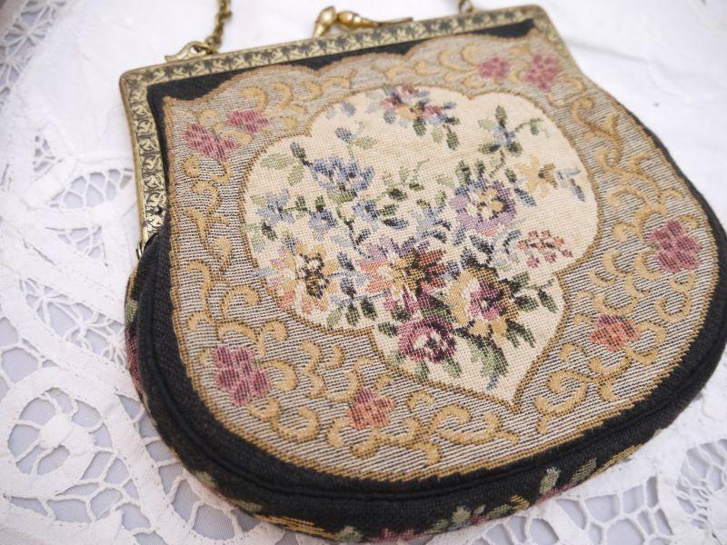 画像1: 花模様タペストリーバッグ (1)