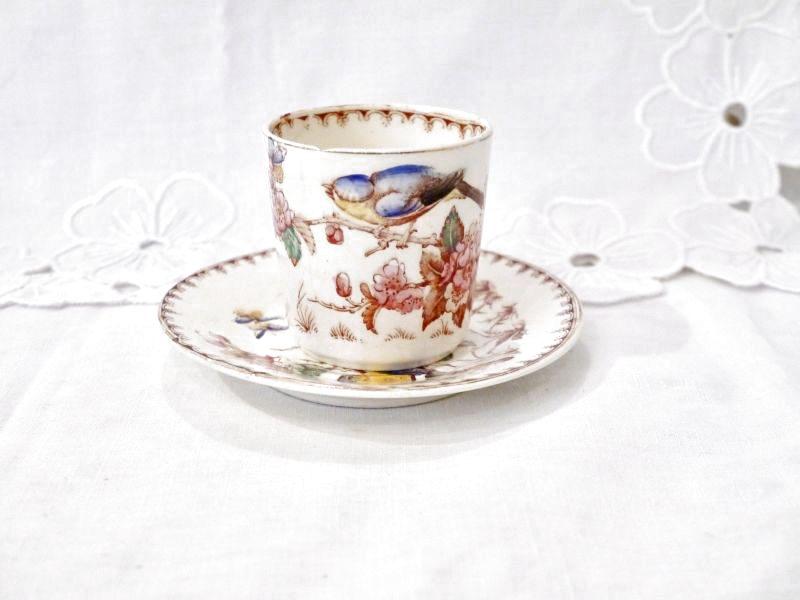 画像1: リュネヴィルK&G 花と小鳥柄デミタスカップ&ソーサー (1)