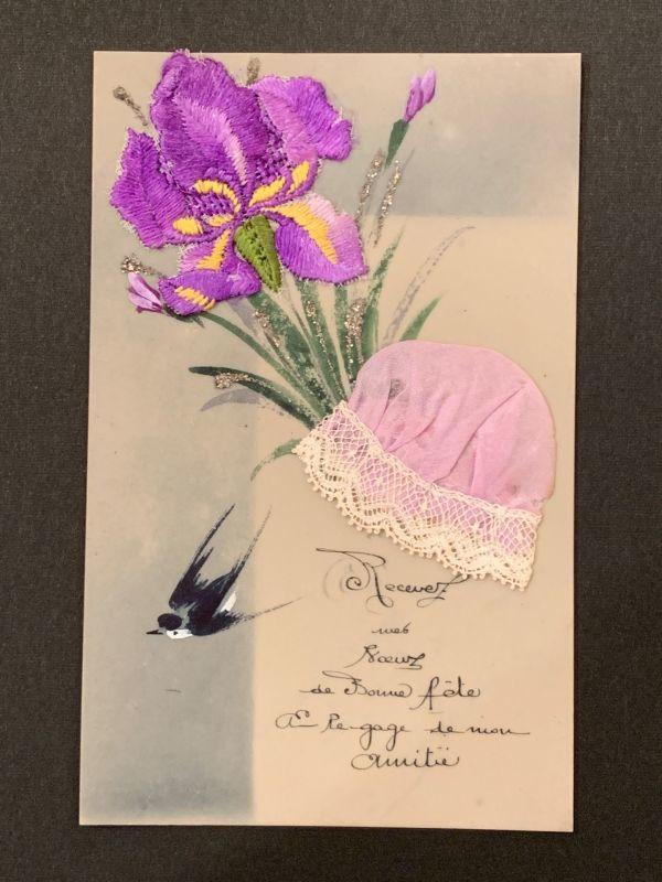 画像1: アヤメ刺繍モチーフ ボネ付きセルロイドカード (1)