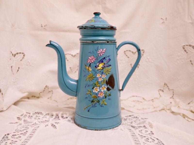 画像1: エトワール社ターコイズブルー小鳥と小花柄コーヒービギンポット (1)