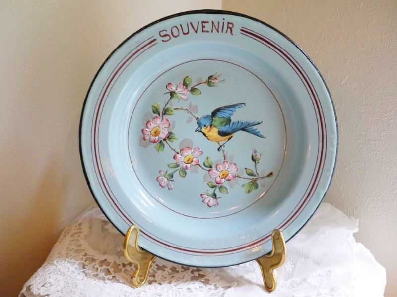 画像1: レア!りんごの花と小鳥柄 ブルーのホーロープレート (1)