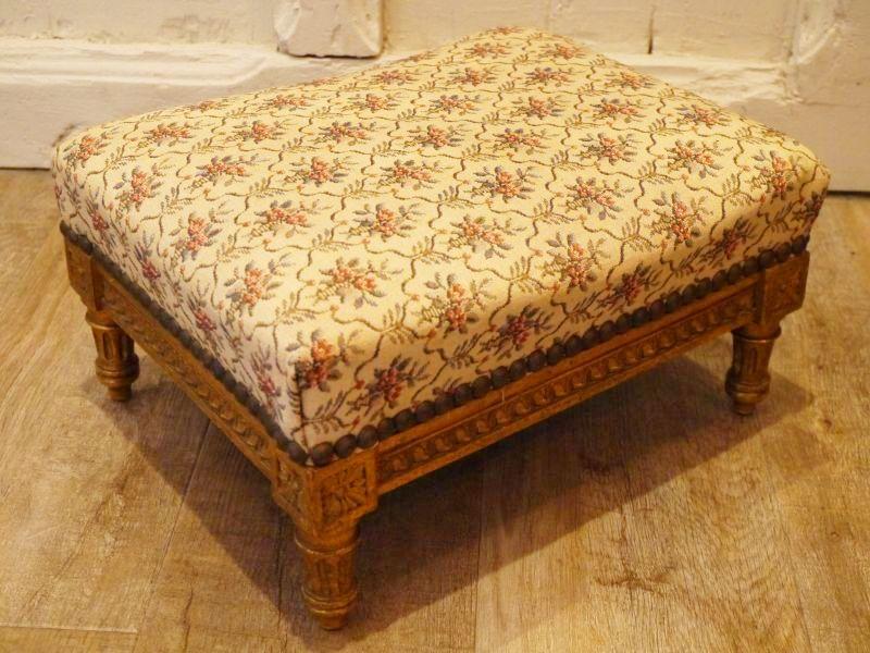 画像1: ルイ16世様式 ゴブラン織り フットスツール (1)