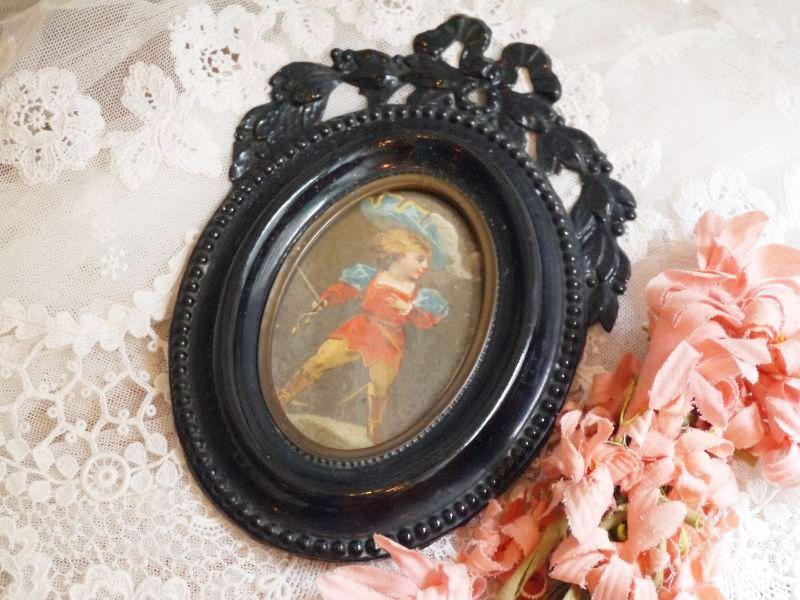 画像1: ナポレオン三世様式 黒の壁掛けメタルフォトフレーム (1)