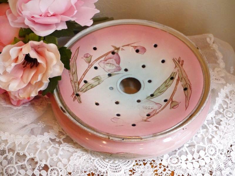 画像1: ホーローお花柄ピンクの海綿入れ (1)