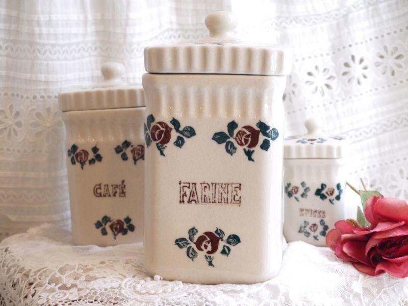 画像1: St UZE 陶器の薔薇柄キャニスター FARINE (1)