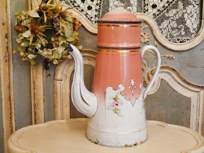 画像1: ローズ柄ピンクのコーヒービギン ポット (1)