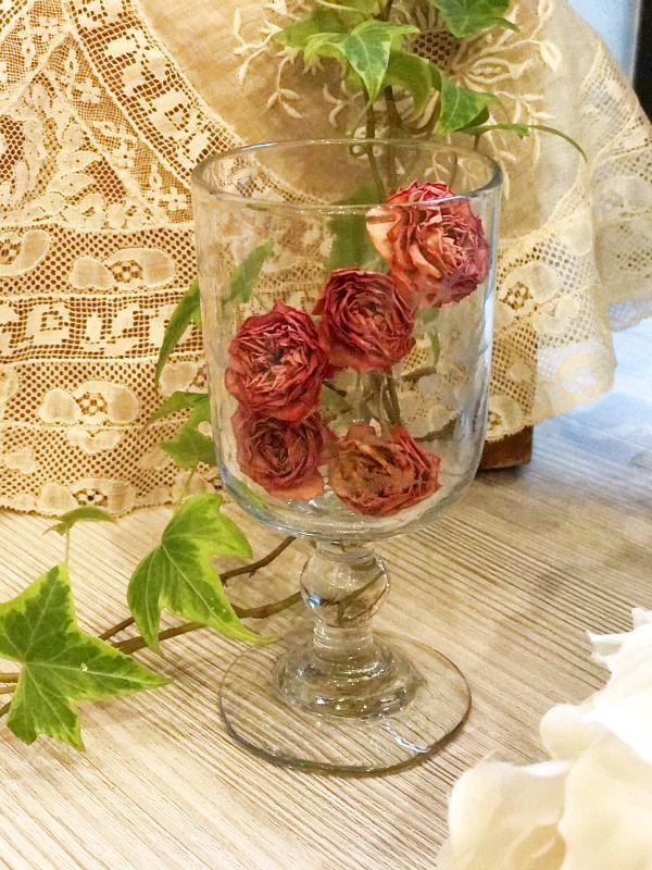 画像1: 鳥と花柄 エッチング加工のグラス (1)