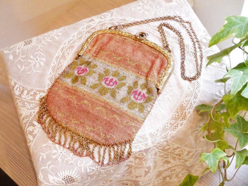 画像1: ピンクのマイクロビーズバッグ (1)