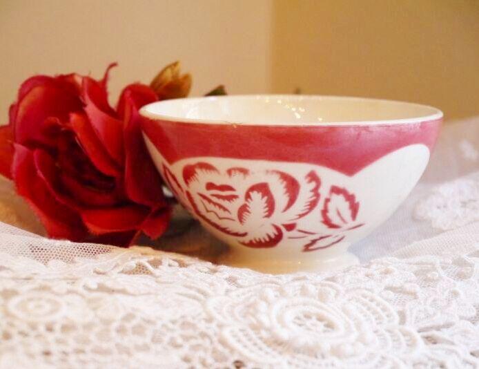 画像1: ディゴワン 薔薇柄 小さなカフェオレボウル (1)