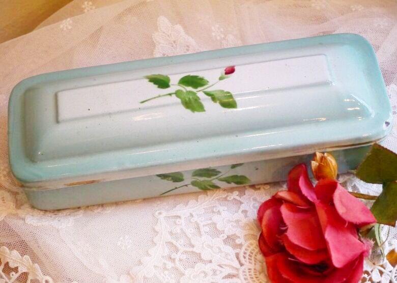 画像1: グリーンぼかし バラの蕾柄のホーロー歯ブラシケース (1)