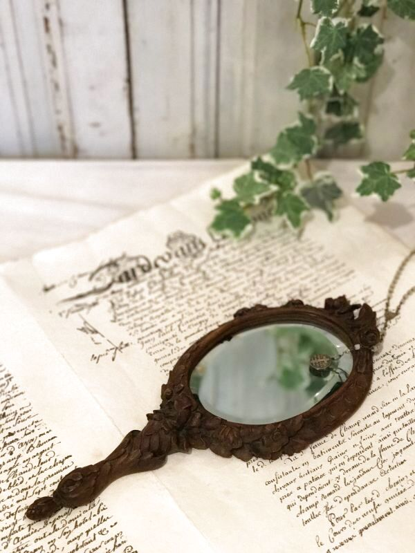 画像1: 薔薇や花、レースモチーフの木製手鏡 (1)