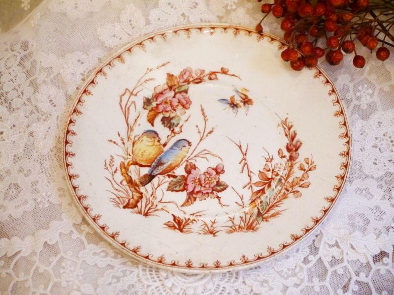 画像1: リュネヴィルK&G 花と小鳥柄ソーサー (1)