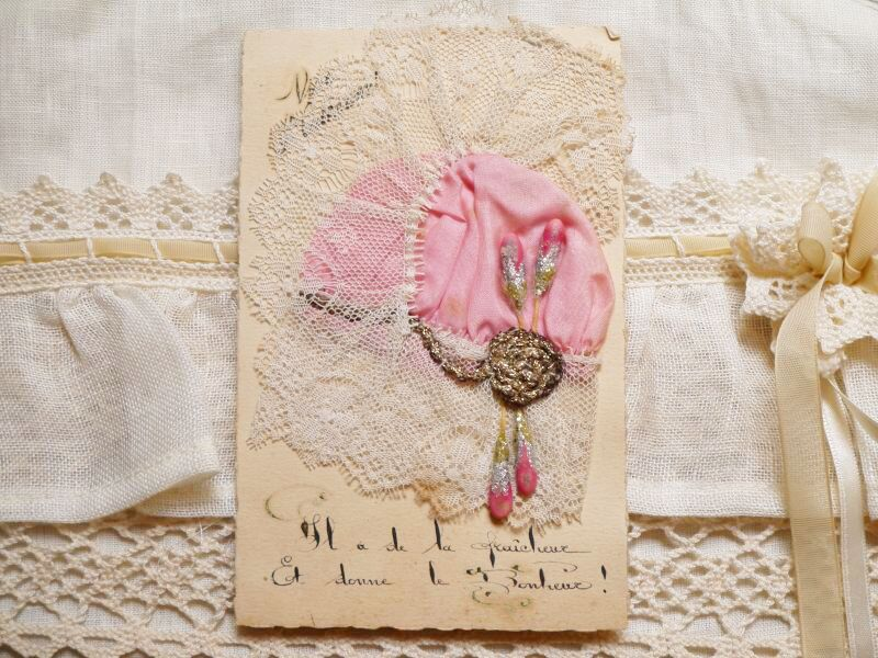 画像1: ピンクボネカード メタルブレードとペップ装飾 (1)