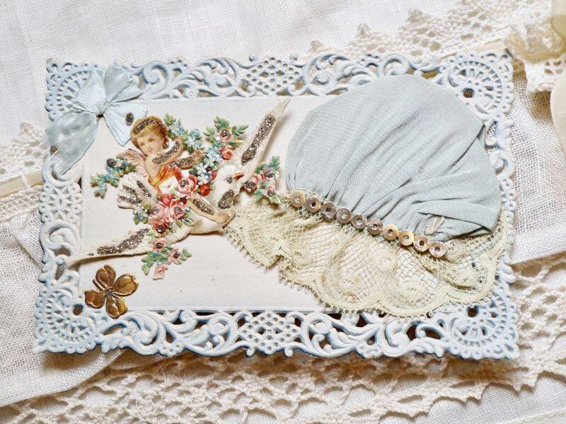 画像1: 天使とブルーのボネカード (1)