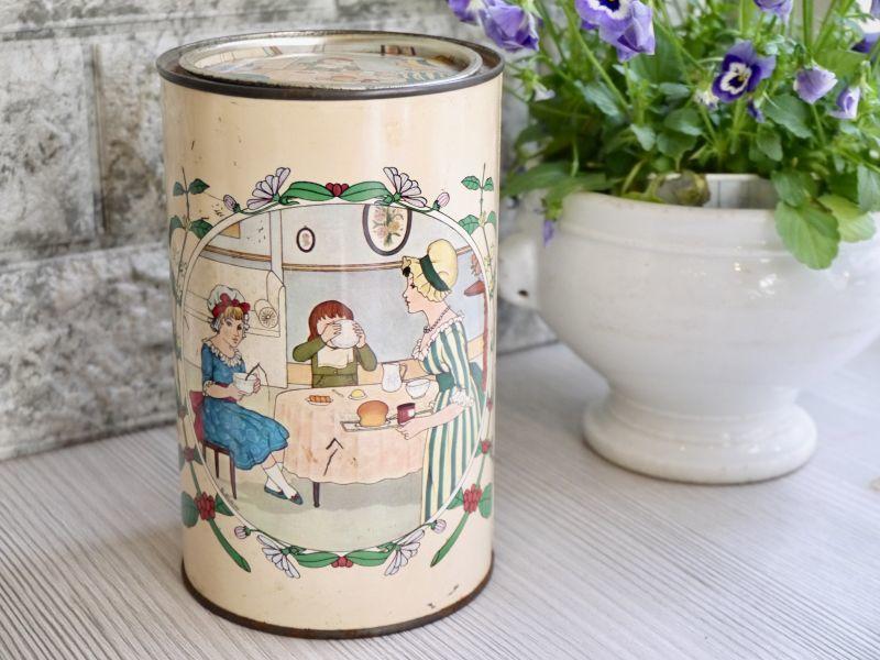 画像1: 女性と子供柄の円柱型Tin缶 (1)