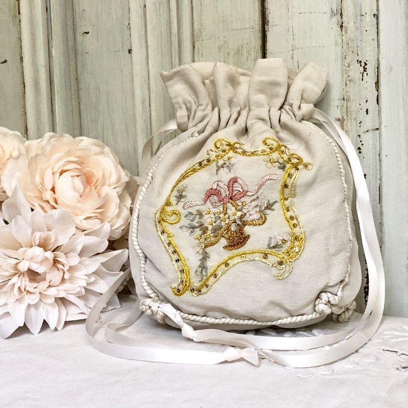 画像1: 花籠のリボンワーク刺繍 レティキュール (1)