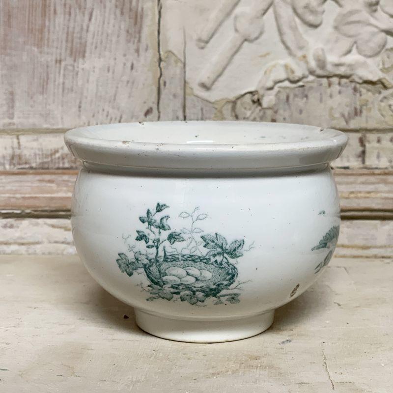 画像1: 小鳥の巣柄コロンとした陶器のパテポット (1)