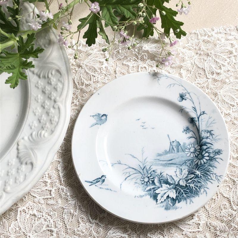 画像1: ジアン マーガレットと小鳥柄おままごと小皿 (1)