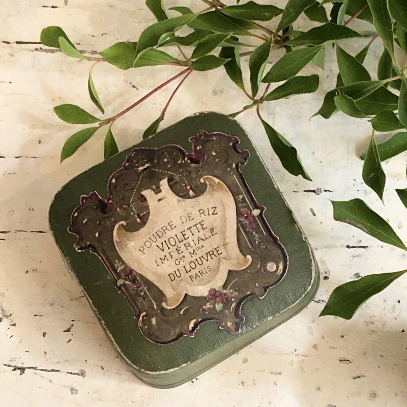 画像1: 通常価格¥8500→¥5950古い紙製グリーンのパウダーケース violette (1)