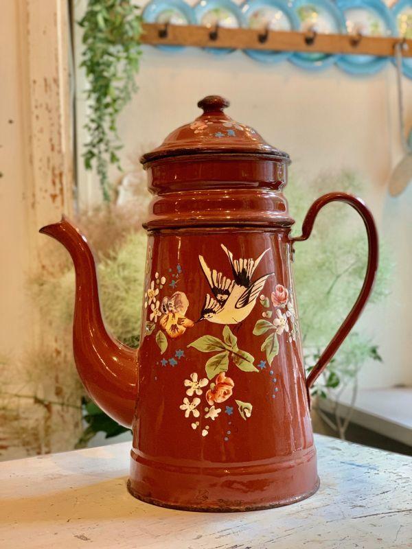 画像1: JAPY社レア!小鳥と薔薇やお花柄のブラウンポット (1)