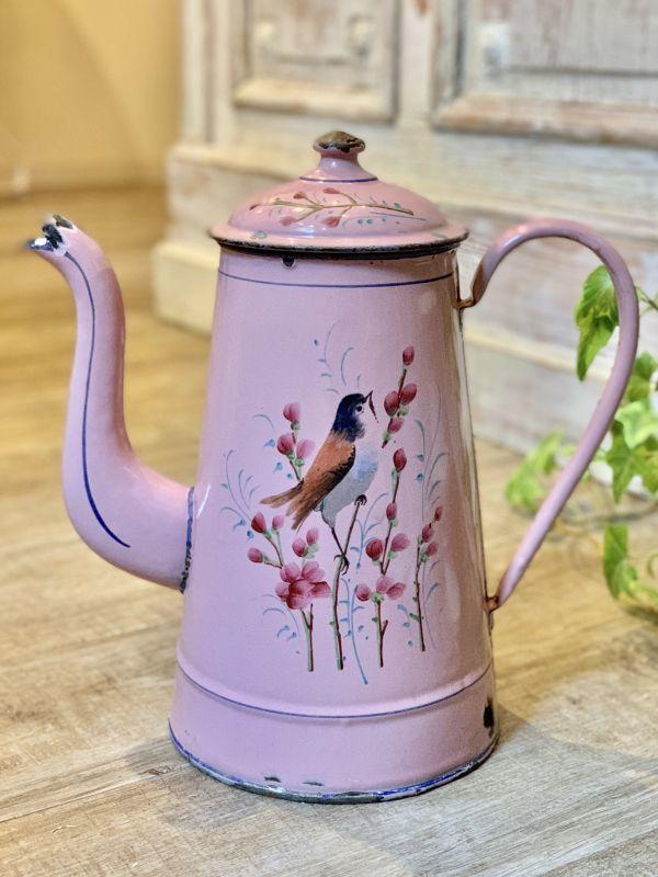 画像1: 小鳥と蕾 ピンクのホーローポット (1)