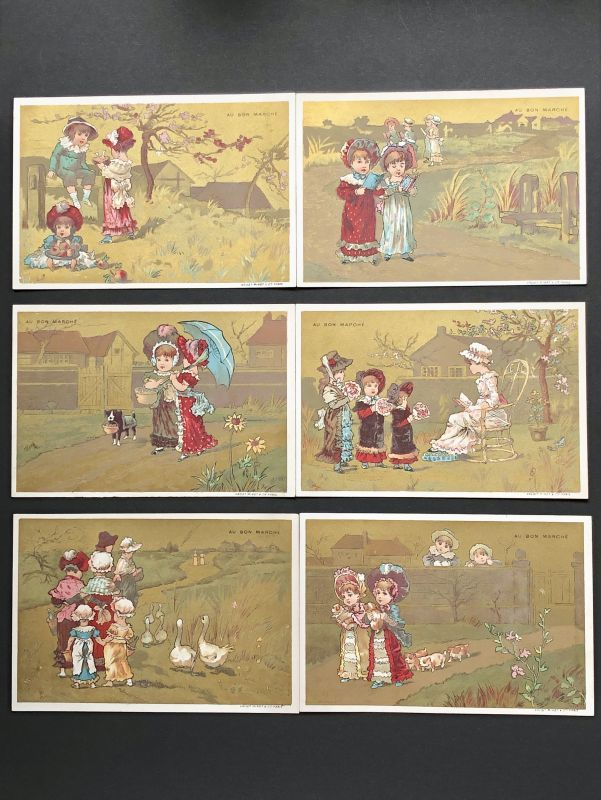 画像1: AU BON MARCHE 少女柄クロモスカード 6枚セット (1)