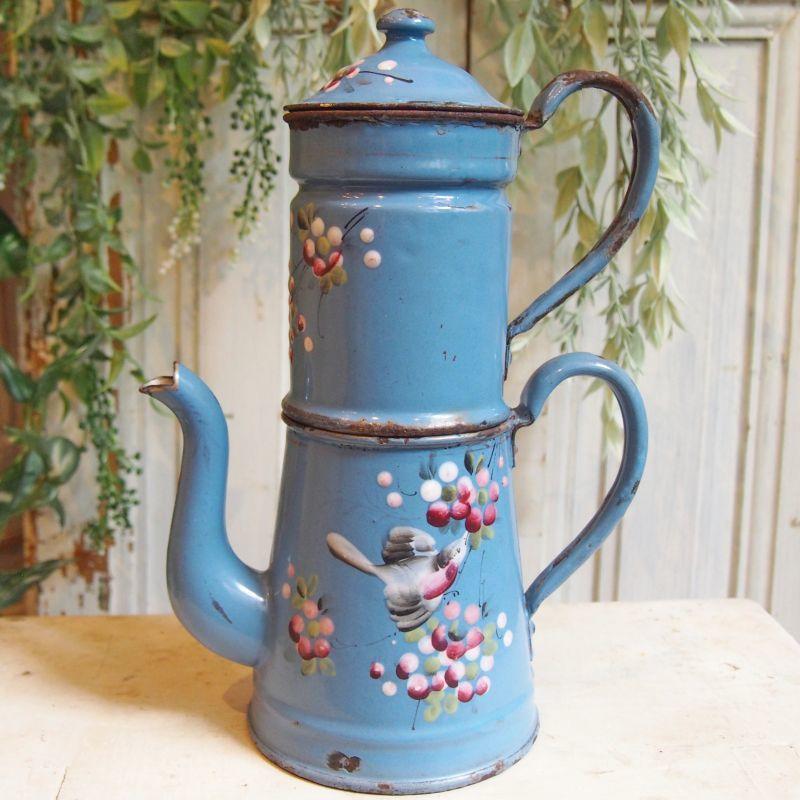 画像1: 小鳥とベリーの柄 ブルーのポット (1)