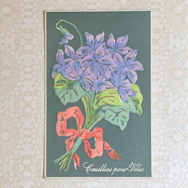 画像1: スミレのブーケ柄ポストカード (1)