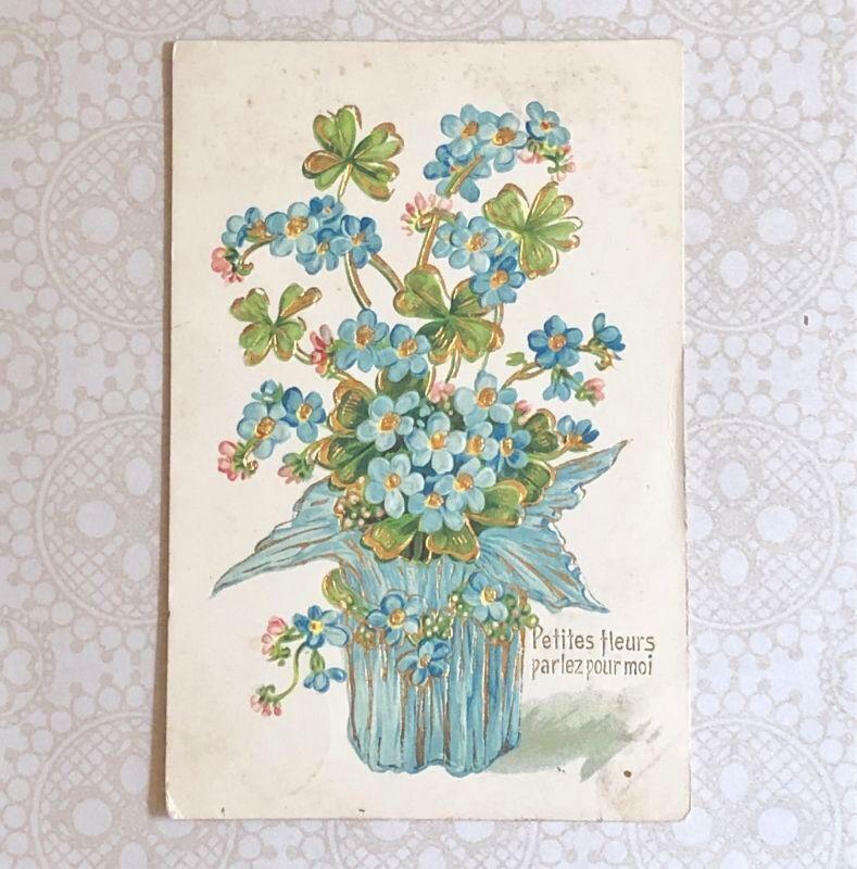 画像1: 勿忘草と四葉のクローバー柄ポストカード (1)