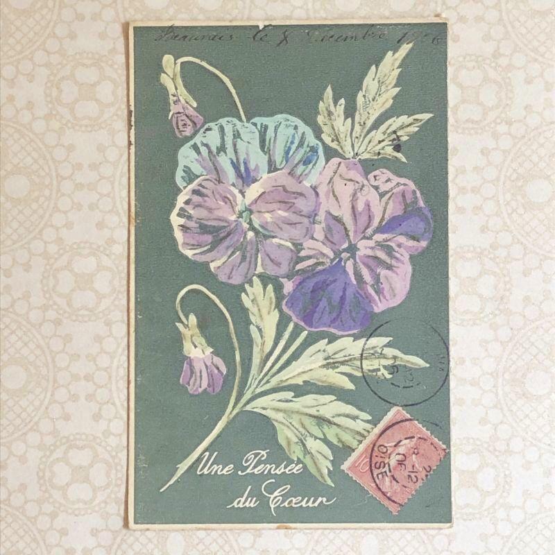 画像1: パンジー柄のポストカード (1)