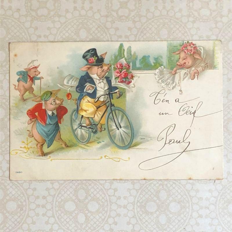 画像1: 子豚の柄のポストカード (1)