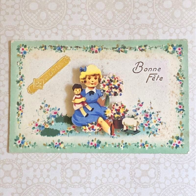 画像1: 女の子柄 立体仕掛けポストカード (1)