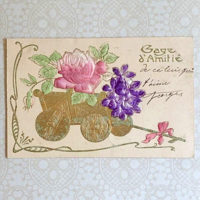 画像1: 薔薇とスミレの花車のポストカード (1)