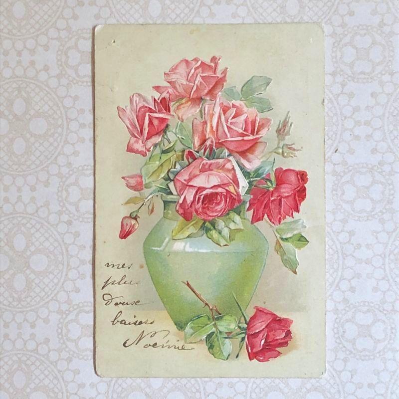 画像1: 薔薇と花瓶の仕掛けポストカード (1)