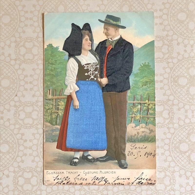 画像1: アルザス地方民族衣装 男女の柄ポストカード (1)