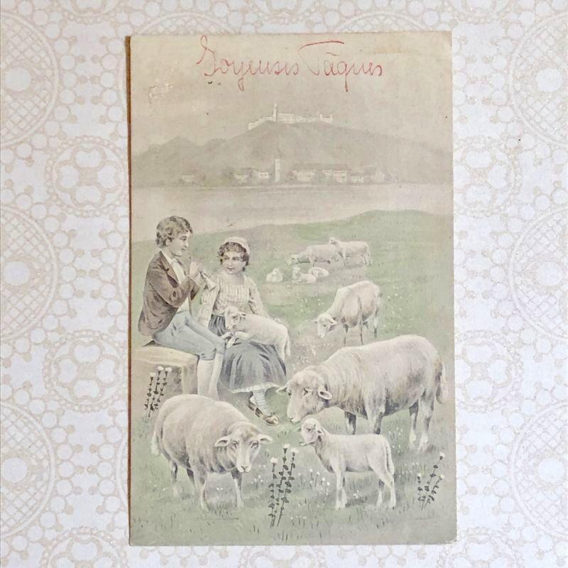 画像1: 羊飼いの少年と少女の柄 ヴィエナ ポストカード (1)