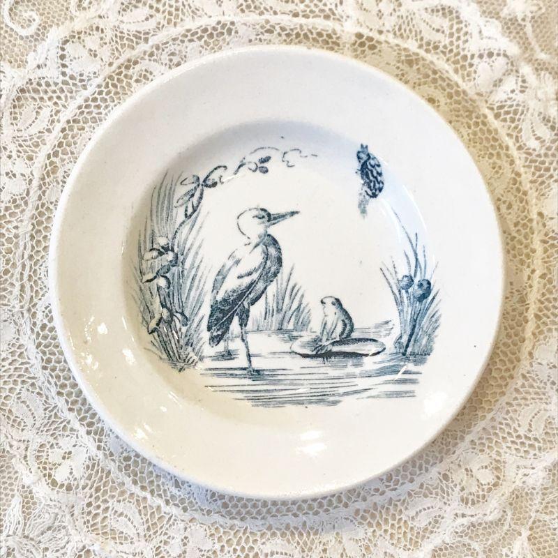 画像1: リュネヴィル 鳥とカエル柄 おままごと小皿 (1)