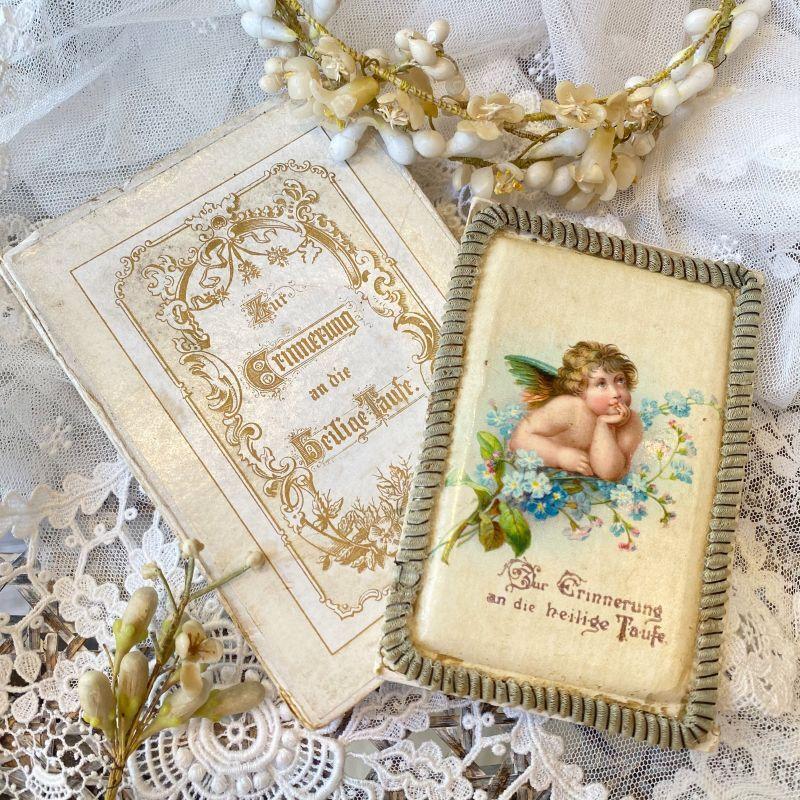 画像1: 勿忘草と天使の柄 洗礼セルロイドカード  BOX付き (1)