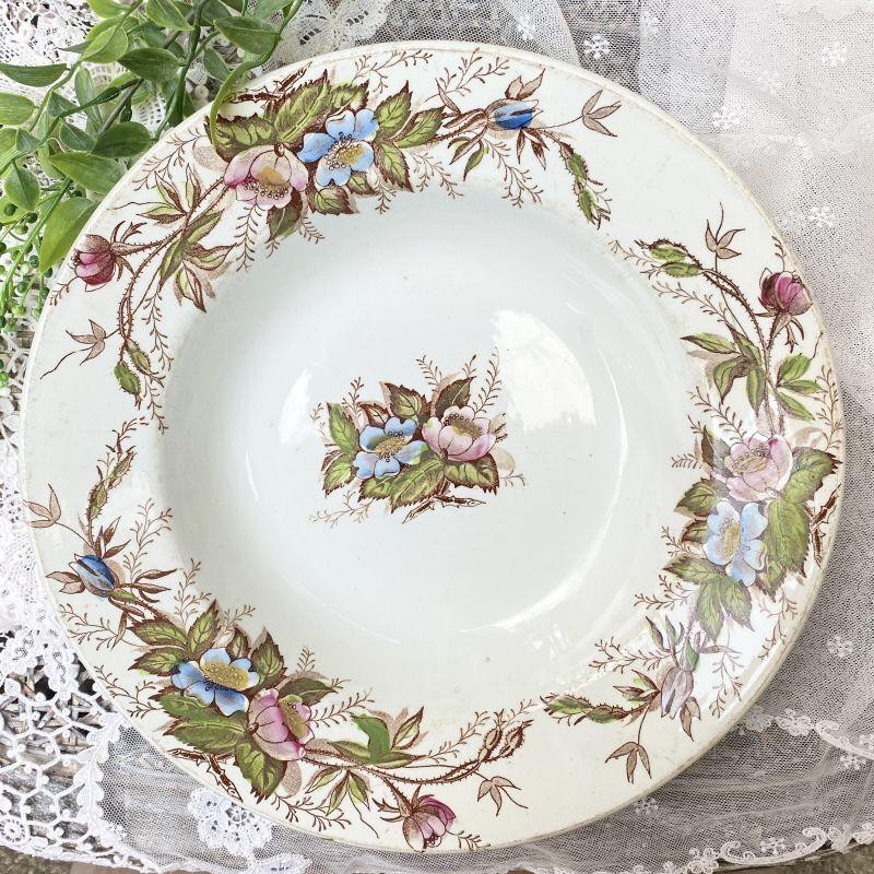 画像1: ピンクとブルーのお花柄 スーププレート (1)