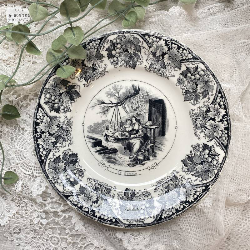 画像1: サルグミンヌ グリザイユプレート ゆりかごの柄 (1)