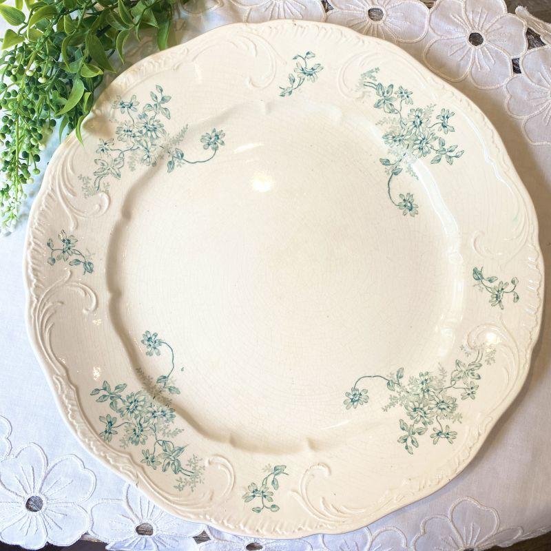 画像1: 1880年代 Longchamp cleta グリーンの花柄大きめプレート (1)